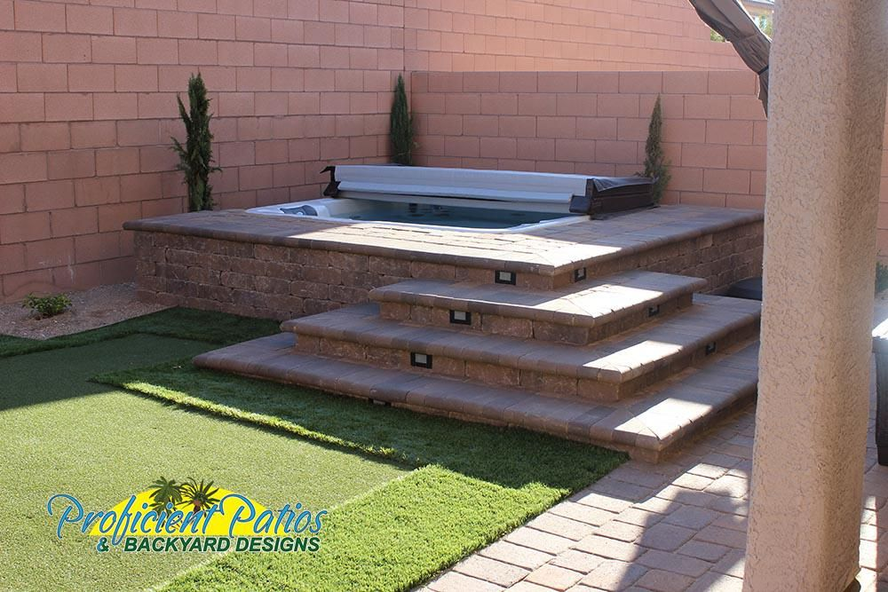 Las Vegas Patios And Backyard Designs Proficient Patios Backyard Design Hot Tub Landscaping Backyard Landscaping Designs