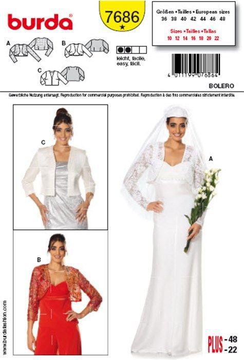 Patron de boléro - Burda 7686 | couture | Pinterest