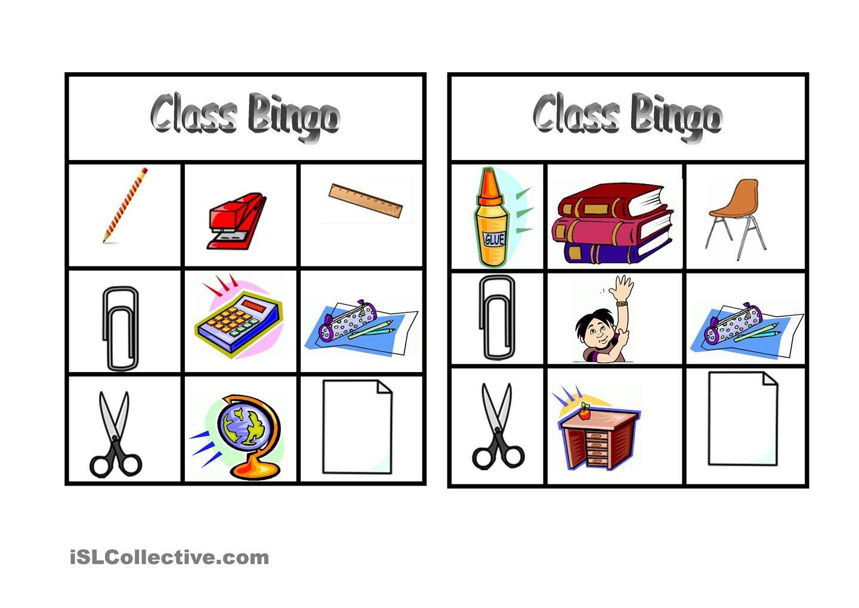 Bingo Classroom Vocabulary