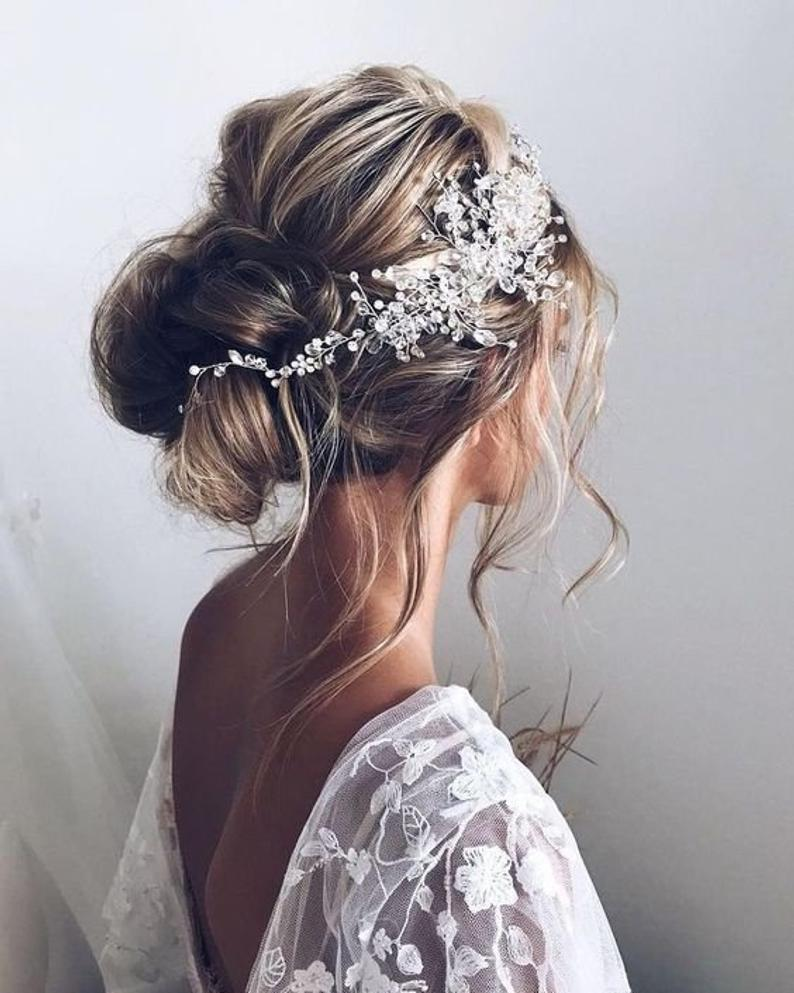 Crystal Bridal hair piece Rose Gold Bridal hair vi