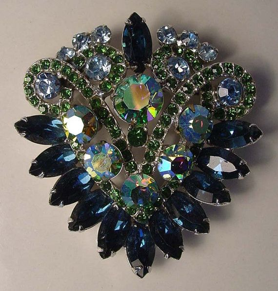 Vintage rhinestone Juliana DeLizza /& Elster layered and dimensional large topaz  glass stone brooch waterfall dangle design-Art.6145