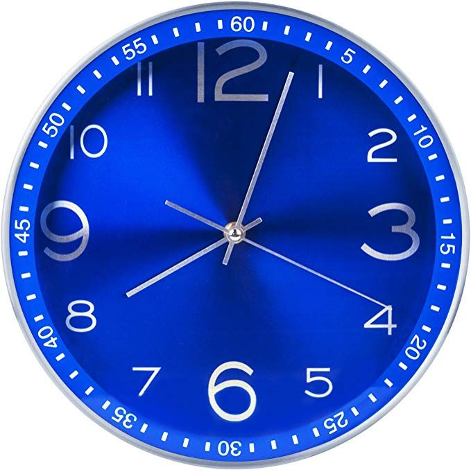 Amazon Com Egundo Blue Wall Clock Battery Operated 12 Inch Decorative Silent Non Ticking Quartz Analog Metal Large Numb In 2020 Blue Wall Clocks Wall Clock Blue Walls
