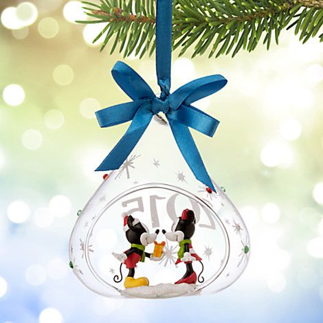 Mickey and Minnie Mouse Glass Drop Sketchbook Ornament 2015 Disney