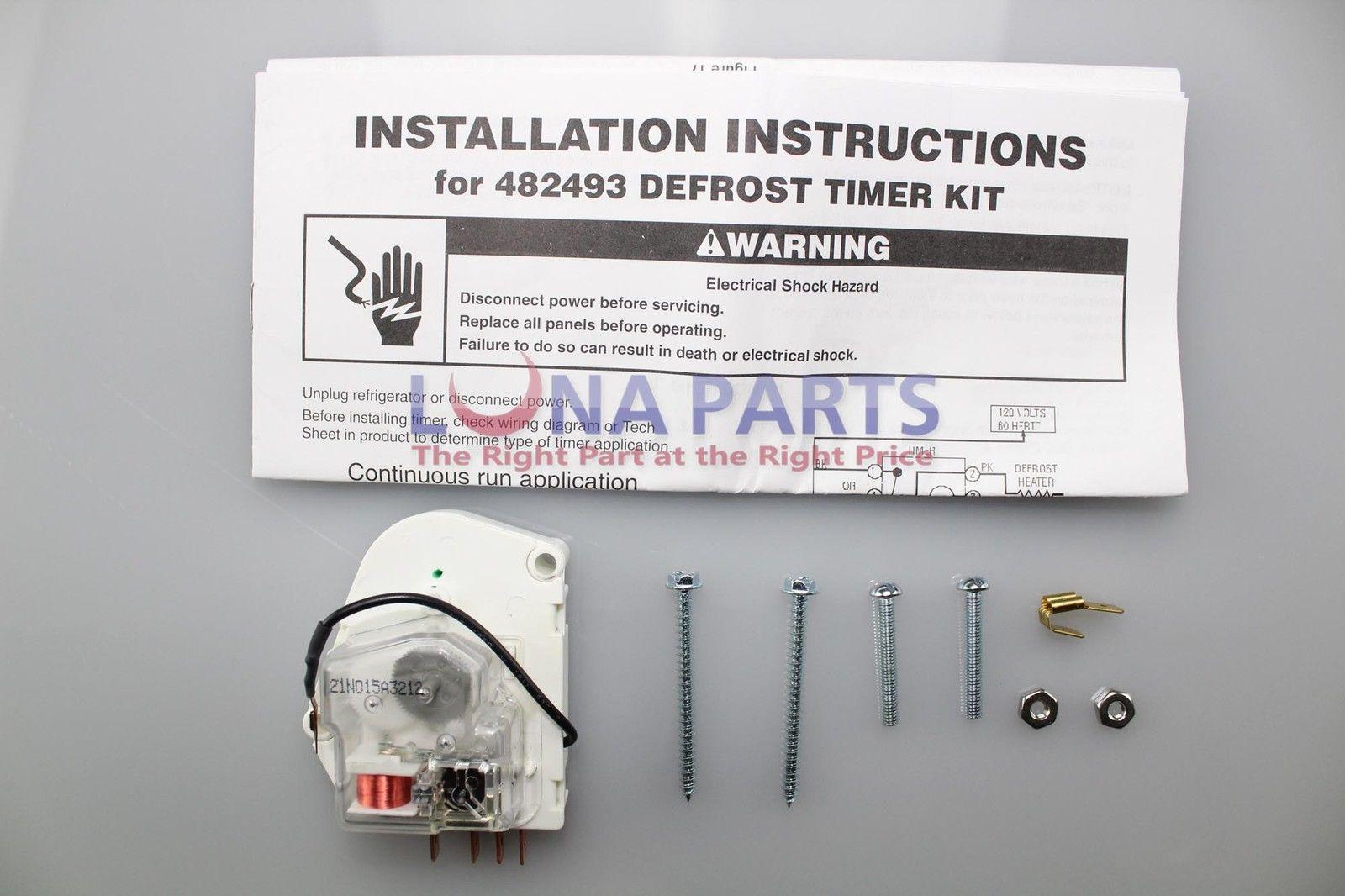 Genuine Oem Whirlpool W10822278 Sears Refrigerator Defrost Timer Kenmore Wiring Diagram 482493