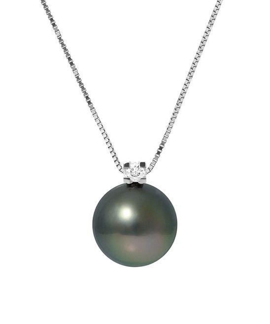 9mm Rainbow Tahitian Pearl & Sterling Silver Lien d'Amour Pendant Necklace