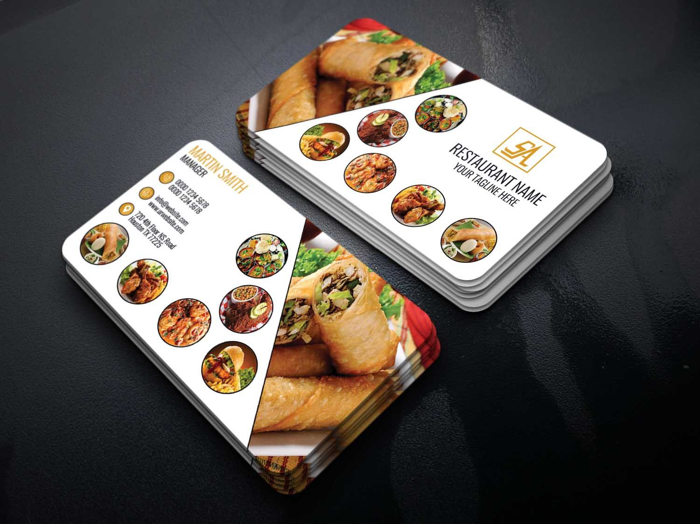 Free Download Restaurant Business Card Template Premium Design Code Graphic Code Gra Restaurant Business Cards Food Business Card Food Business Card Design