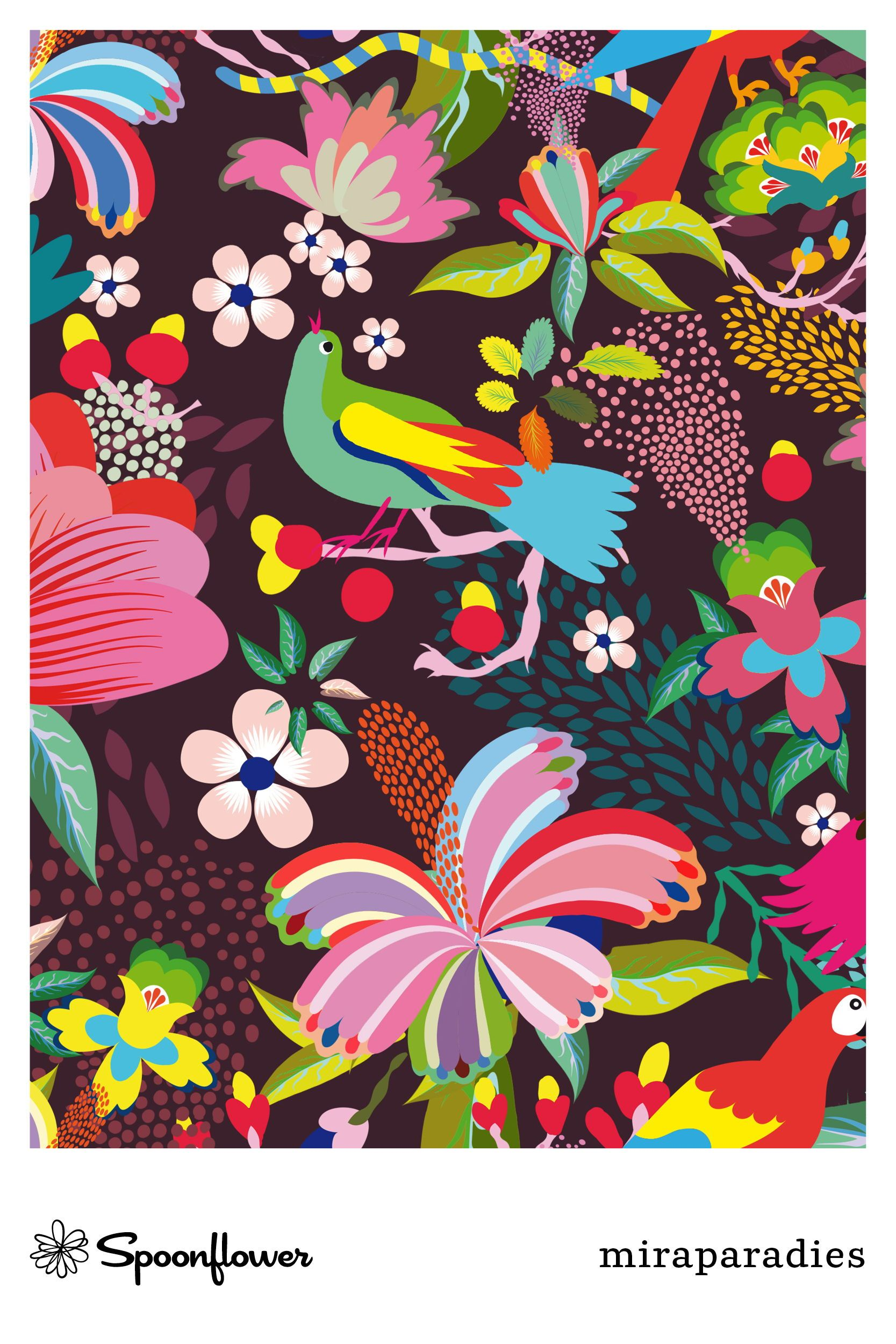 Stoff Meterware Vogel Tropisch Zauberei Bunt Bluhen Schon Exotisch Dekorativ Pattern Art Prints Tropical Forest