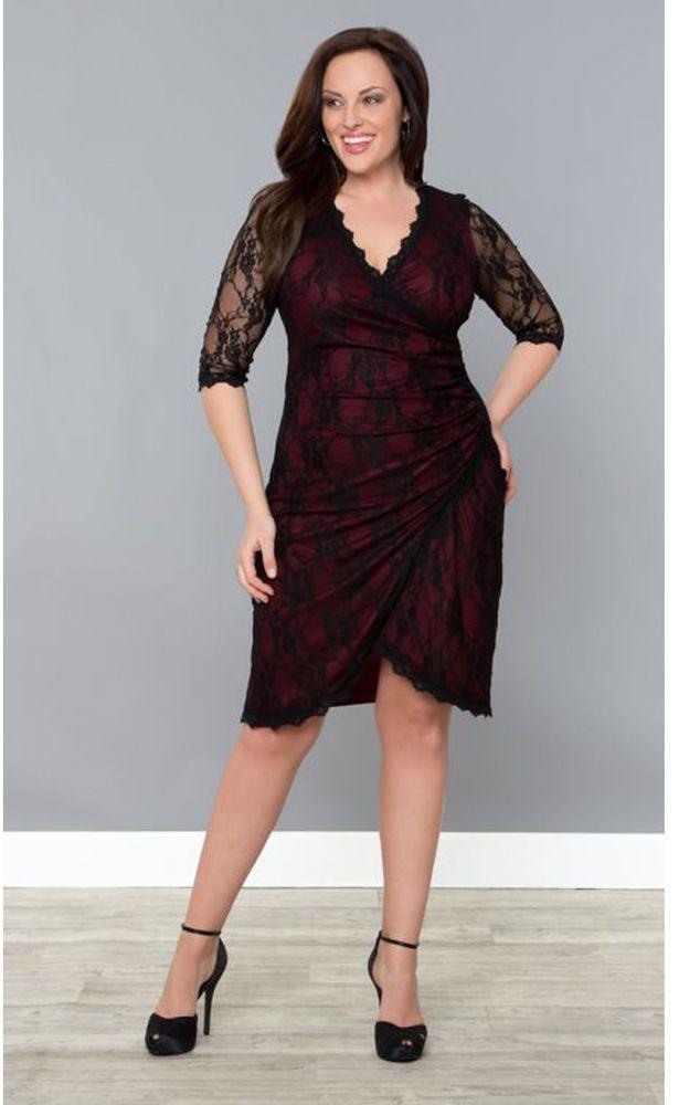 Kiyonna Plus Size Red Size 3x Gigi Black Lace Dress 22 24 Maroon Red
