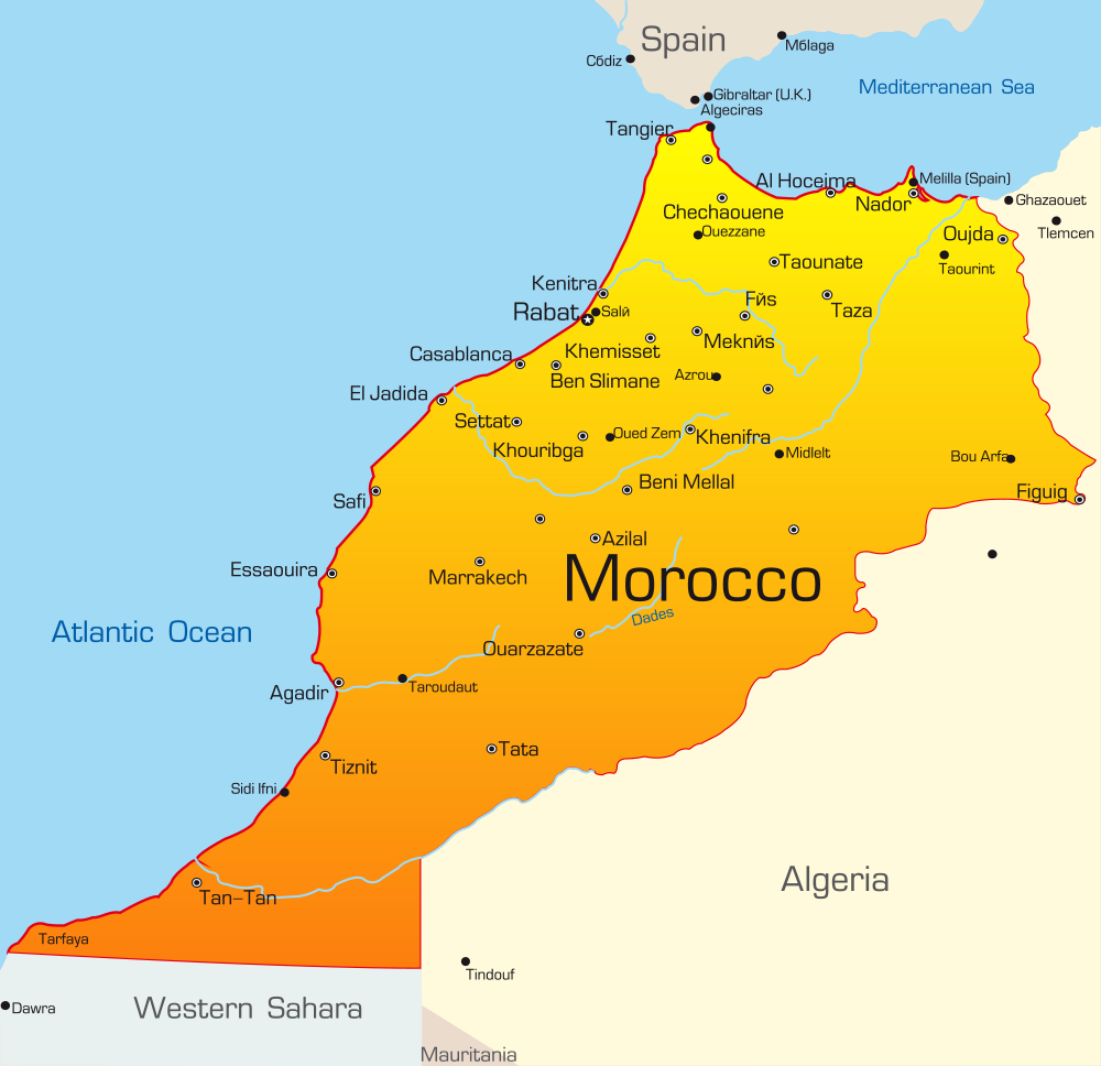 Morocco Map with cities blank outline map of Morocco Itchy Feet