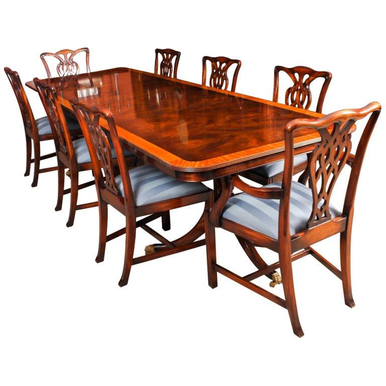 1stdibs Dining Room Set Vintage Twin Pillar Dining 8 Chairs