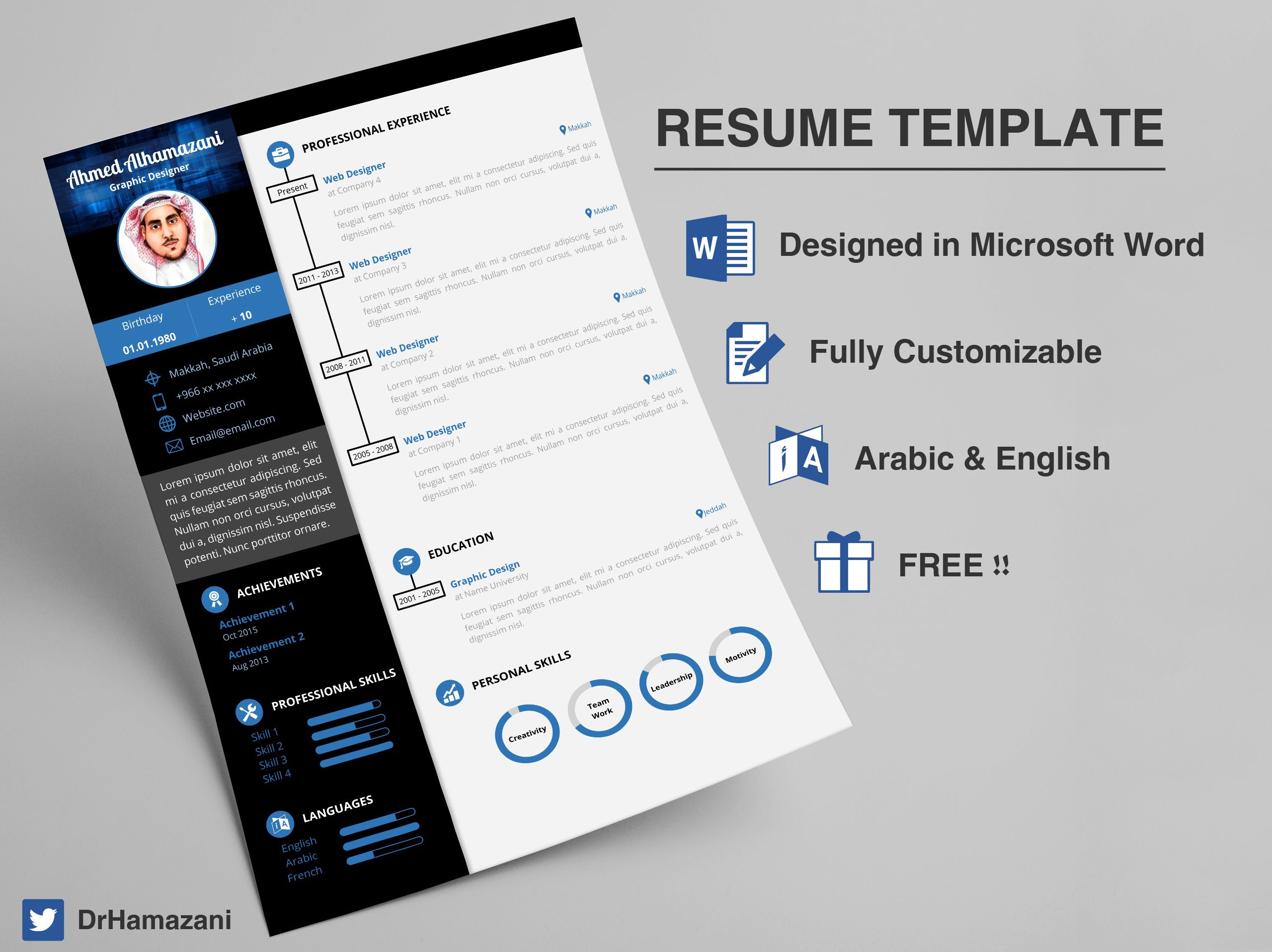 Free Resume Template In Docx And Doc Format Ready To Download