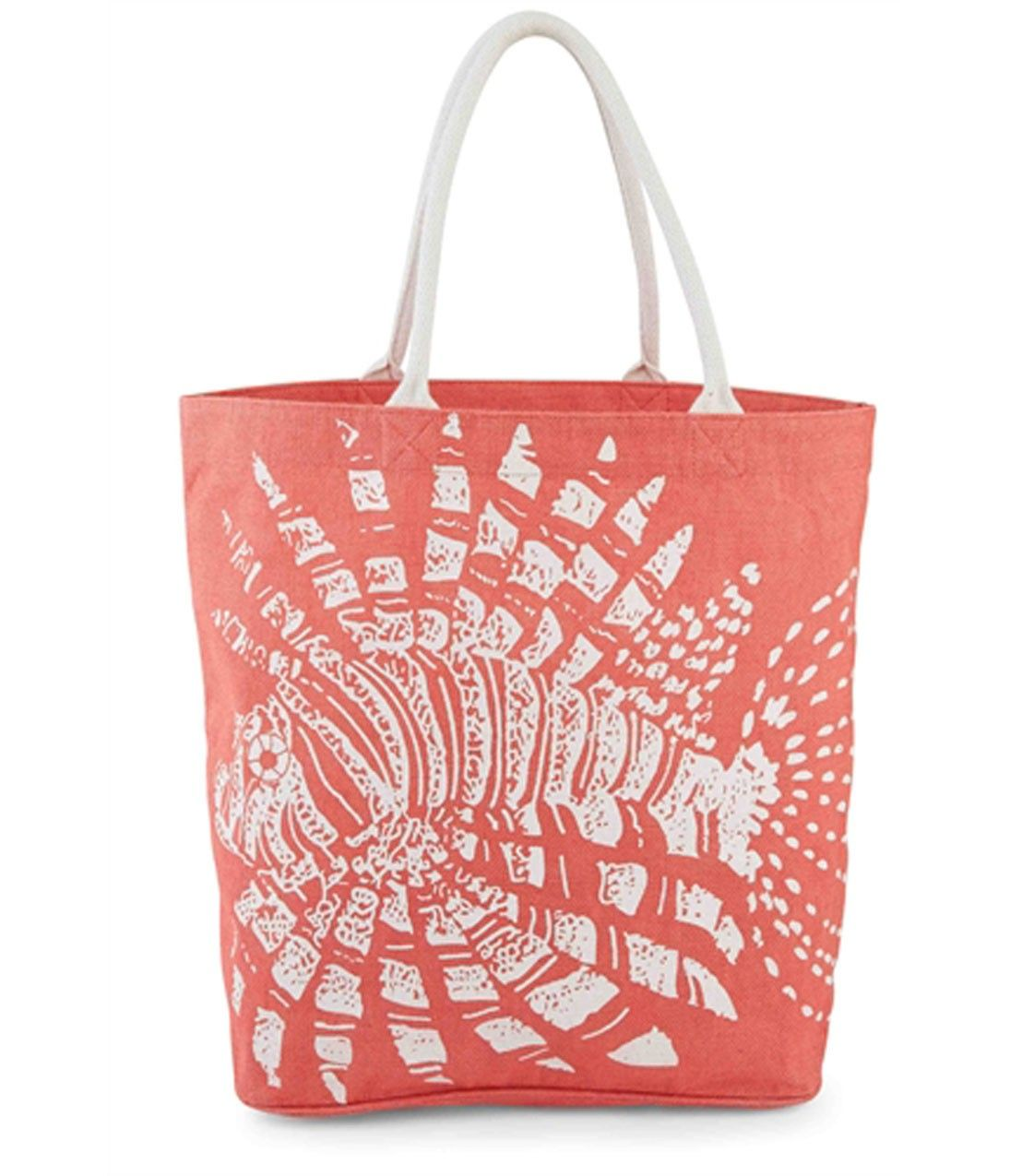 Coral Pink & White Lionfish Print Jute Beach Tote Jute