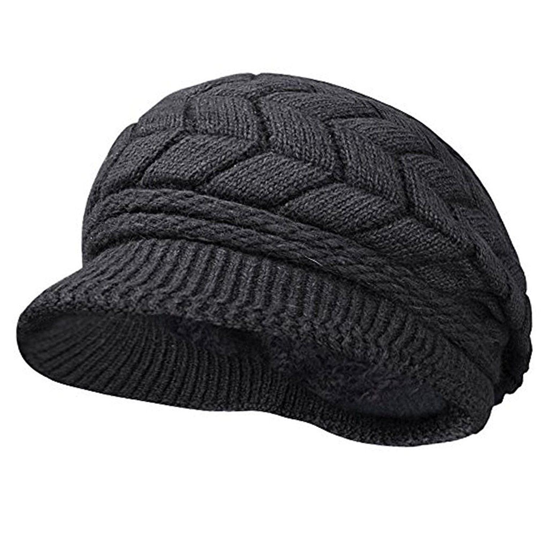 ac792f42967 Women Winter Warm Knit Hat Wool Snow Ski Caps With Visor - Black ...