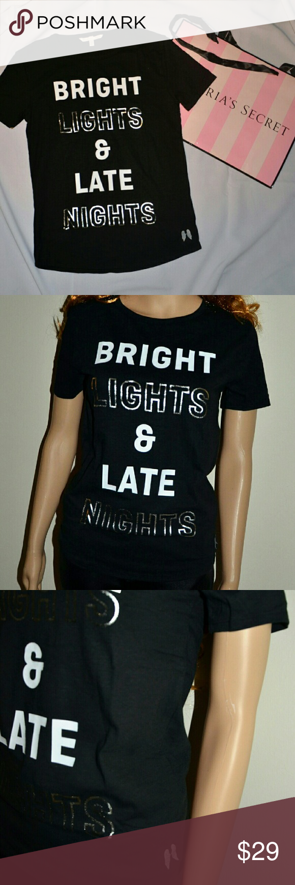 New VS Bright Lights and Late Nights T-Shirt Very soft and comfortable statement t-shirt Victoria's Secret Tops Tees - Short Sleeve