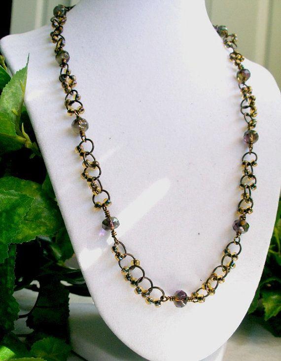 Purple Green Handmade Necklace Czech Glass Seed by StrandedBeads, $40.00