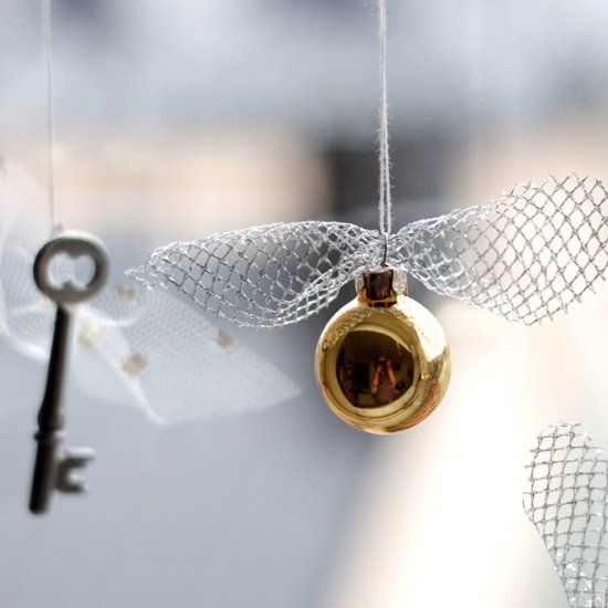 diy a golden snitch and flitwicks flying keys garland for
