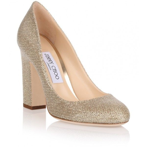 dcc20d03b6f4 Jimmy Choo Billie 100 Gold Glitter Fabric Pump (£370) ❤ liked on Polyvore  featuring shoes