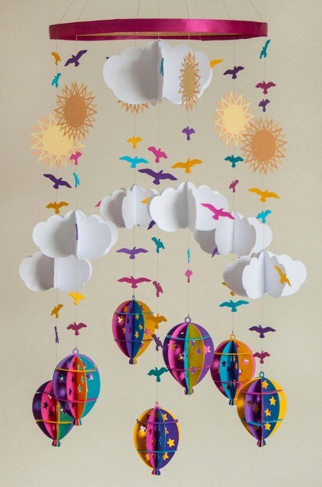 Baby Mobile Selber Basteln Papier Wolken Heissluftballons Sonnen Voegel Selber Basteln Mobile Basteln Mobile Basteln Papier