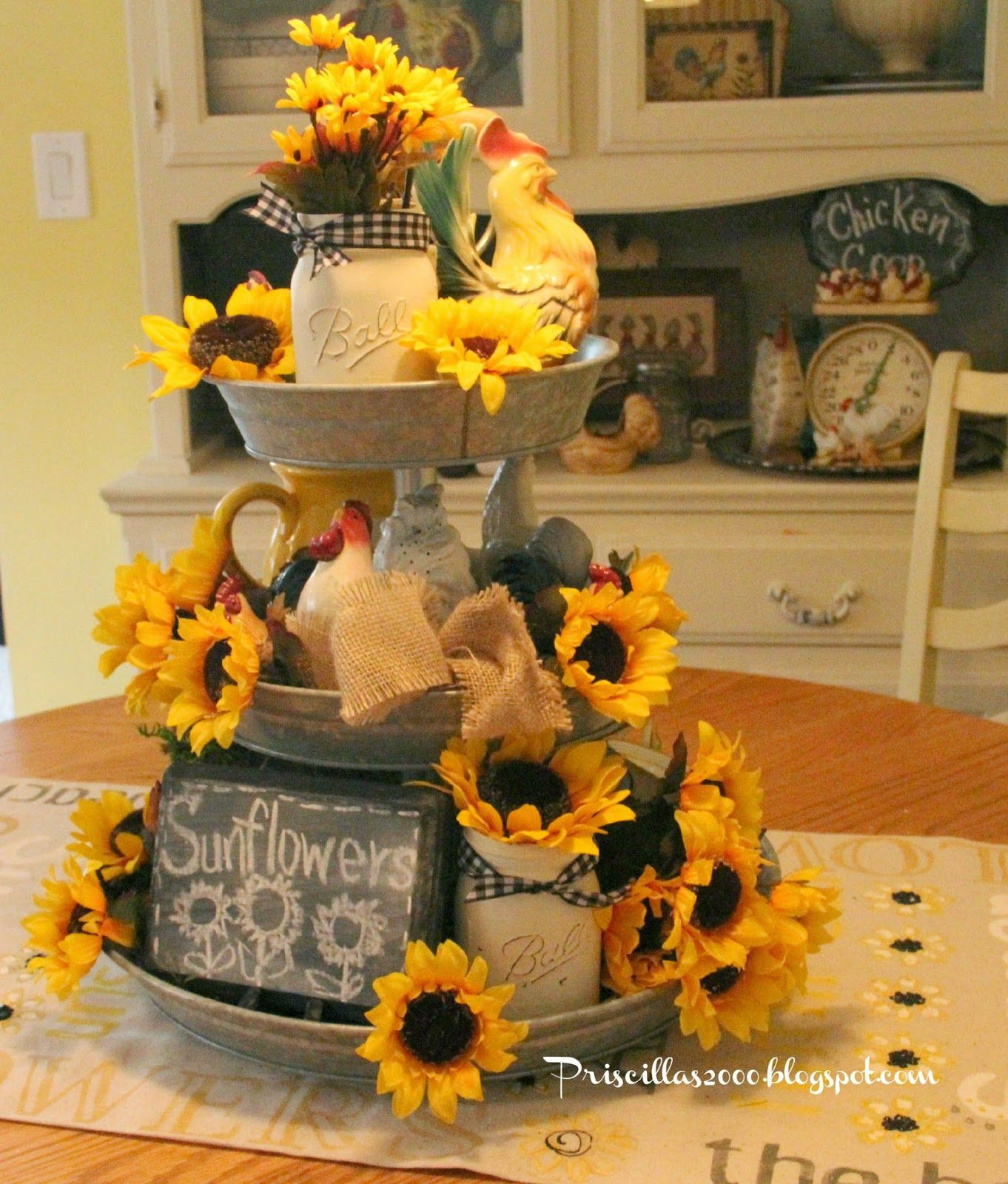 Tuscan Sunflower Kitchen Decor Good Morning And Happy Weekend I Have Had My Galvanized Tiered