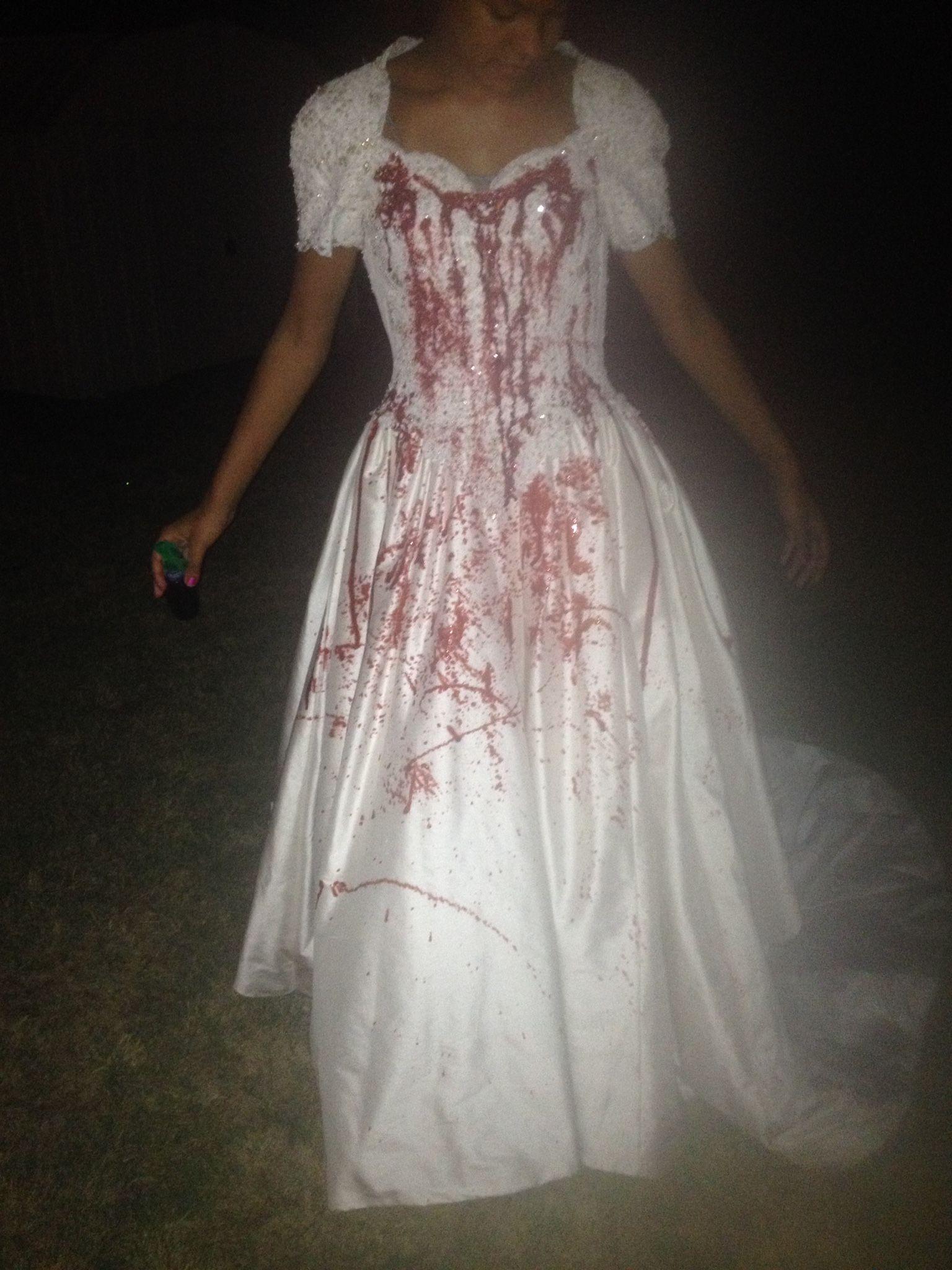 Thrift Store Wedding Dress...$25 Spray bottle....$1 Fake Blood ...