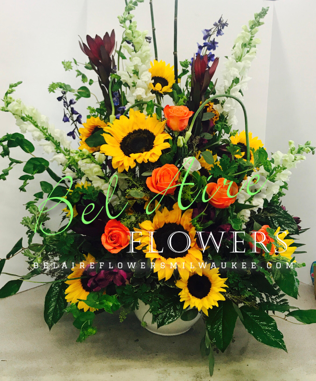 Natural funeral arrangement sunflowers sympathy funeral natural funeral arrangement sunflowers izmirmasajfo