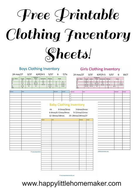 free printable clothing inventory sheets Reselling Pinterest - alcohol inventory spreadsheet