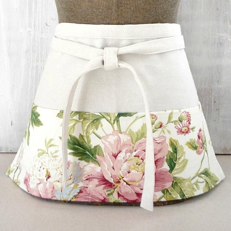 Shabby Cottage Half Apron with Pink Roses for Vendor