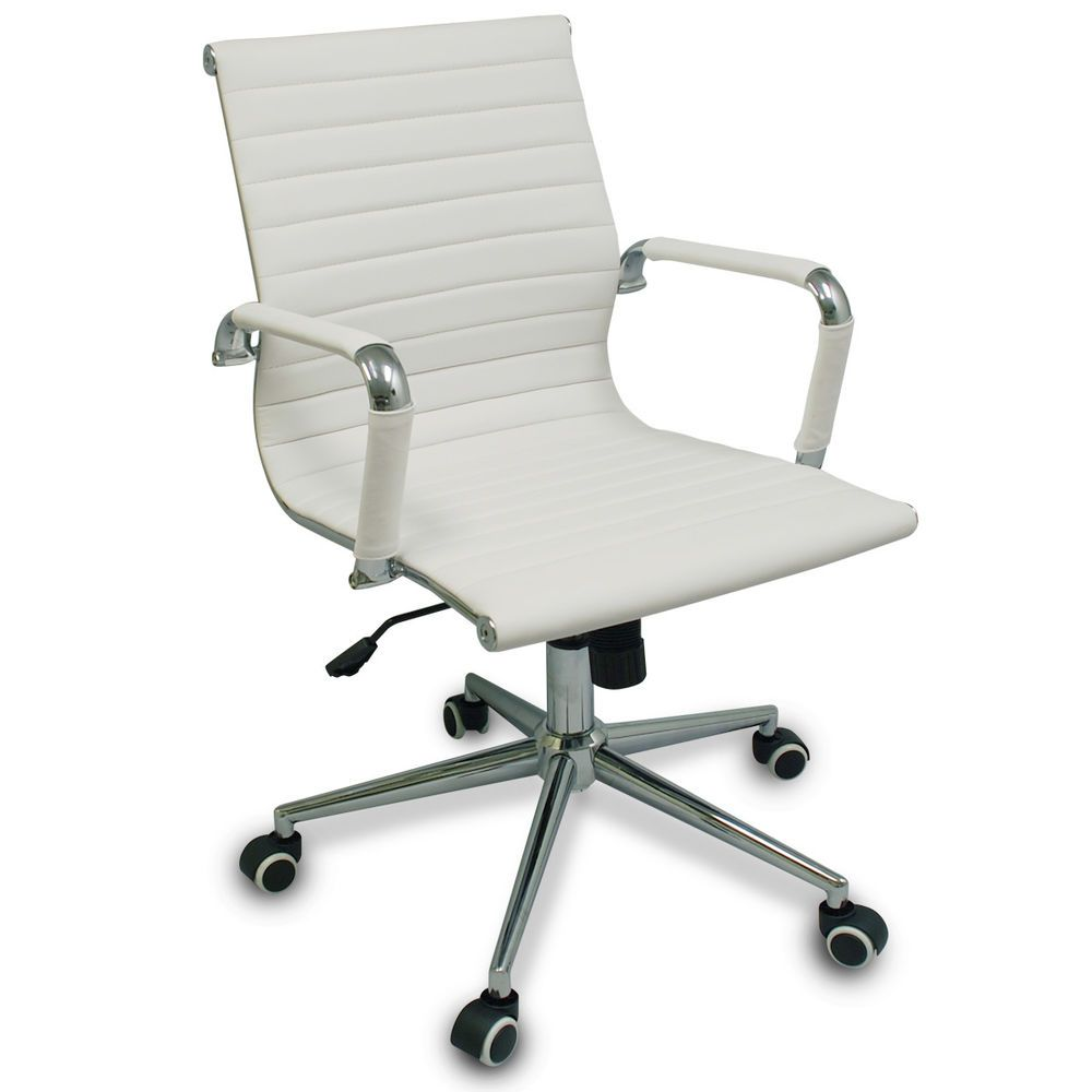 New White Modern Ribbed Office Chair With Specialized Wheels For Hardwood  Floors