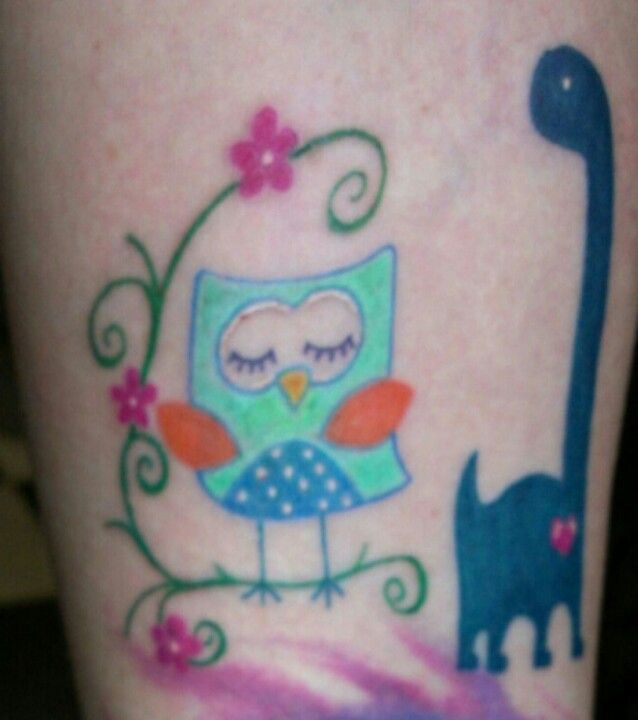 An owl for baby girl and a dino for baby boy. #newtattoo