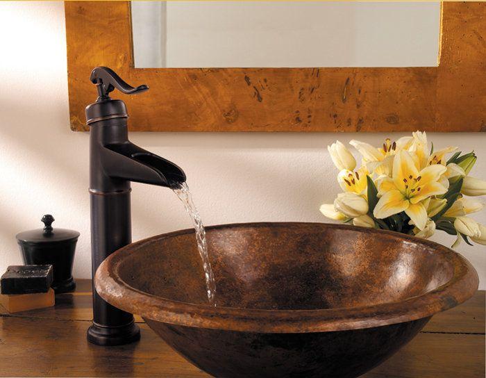Antique Vessel Sink And Faucet  Powder Bathroom  Pinterest Inspiration Bathroom Bowl Sinks Design Inspiration
