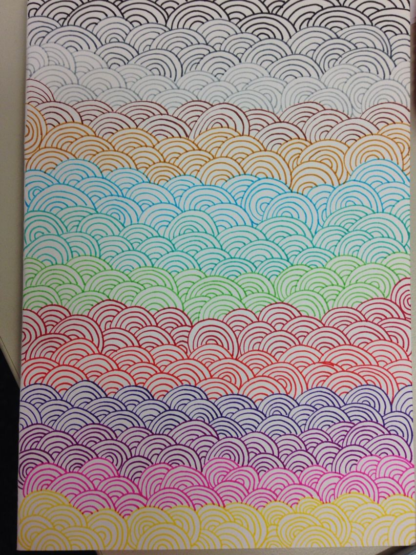 Rainbow Doodles Made By Schenny Zentangle In 2019