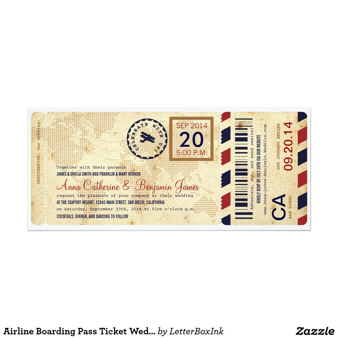 Airline Boarding Pass Ticket Wedding Invitation 10,2 X 23,5 Cm  Einladungskarte