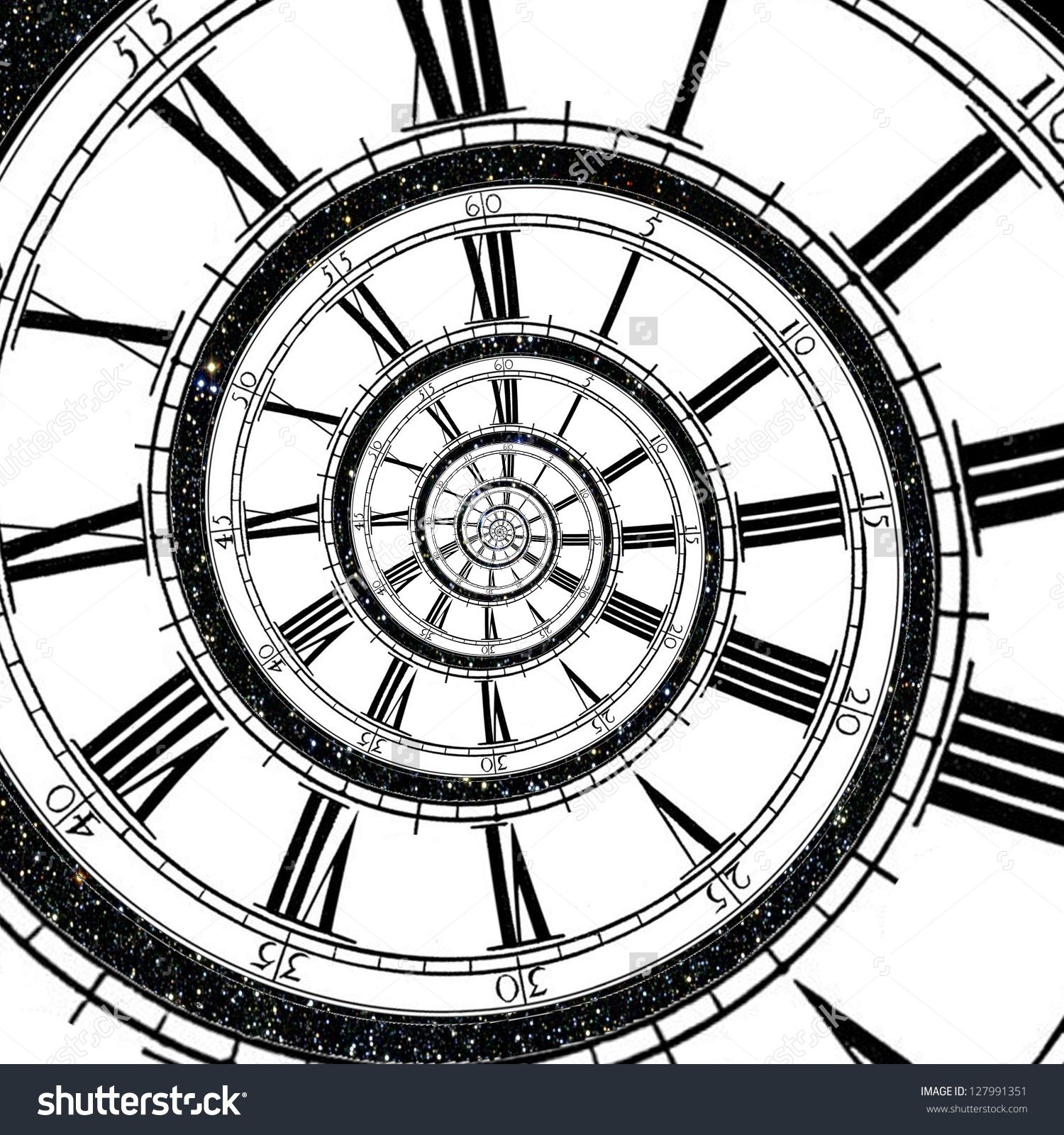 Clock Face Stretches As A Spiral Into Infinity With Sky Full Of