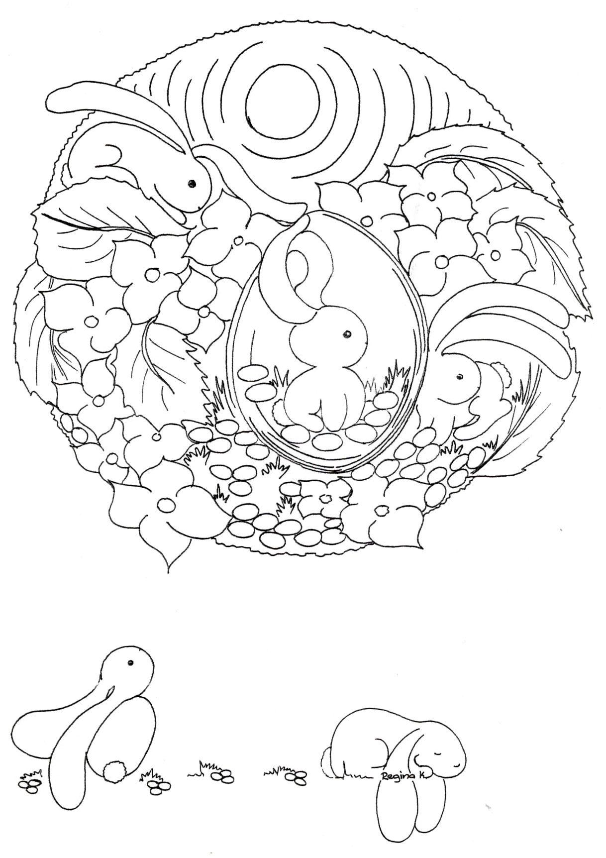 pretty little design for Easter Egg.   coloriage   Pascua, Conejo de ...