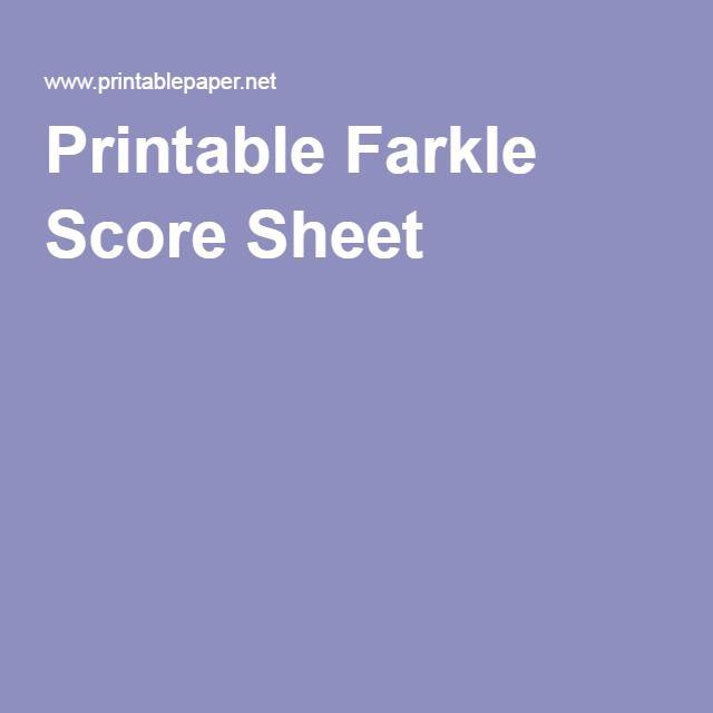 Printable Farkle Score Sheet  Printables    Scores