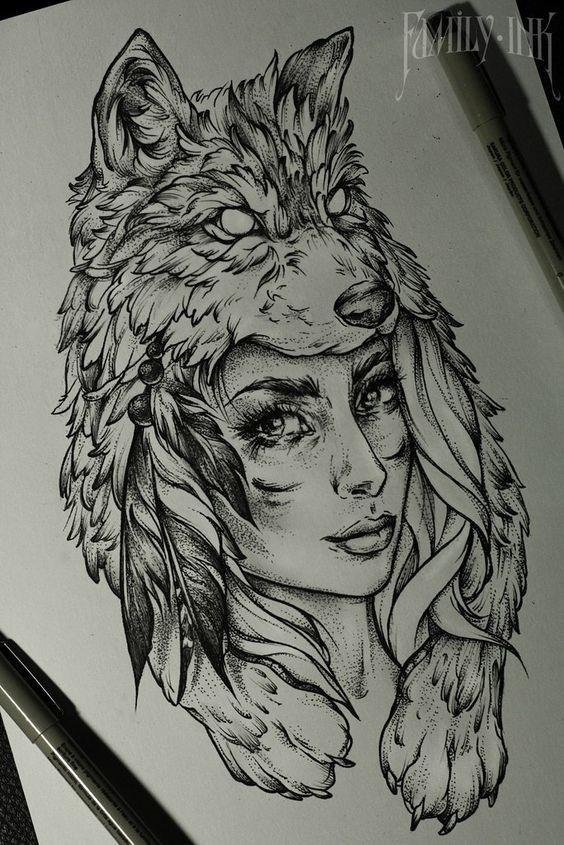 Imagem De Eskizy Por Ksyusha Didenko Tatuagem India Com Lobo