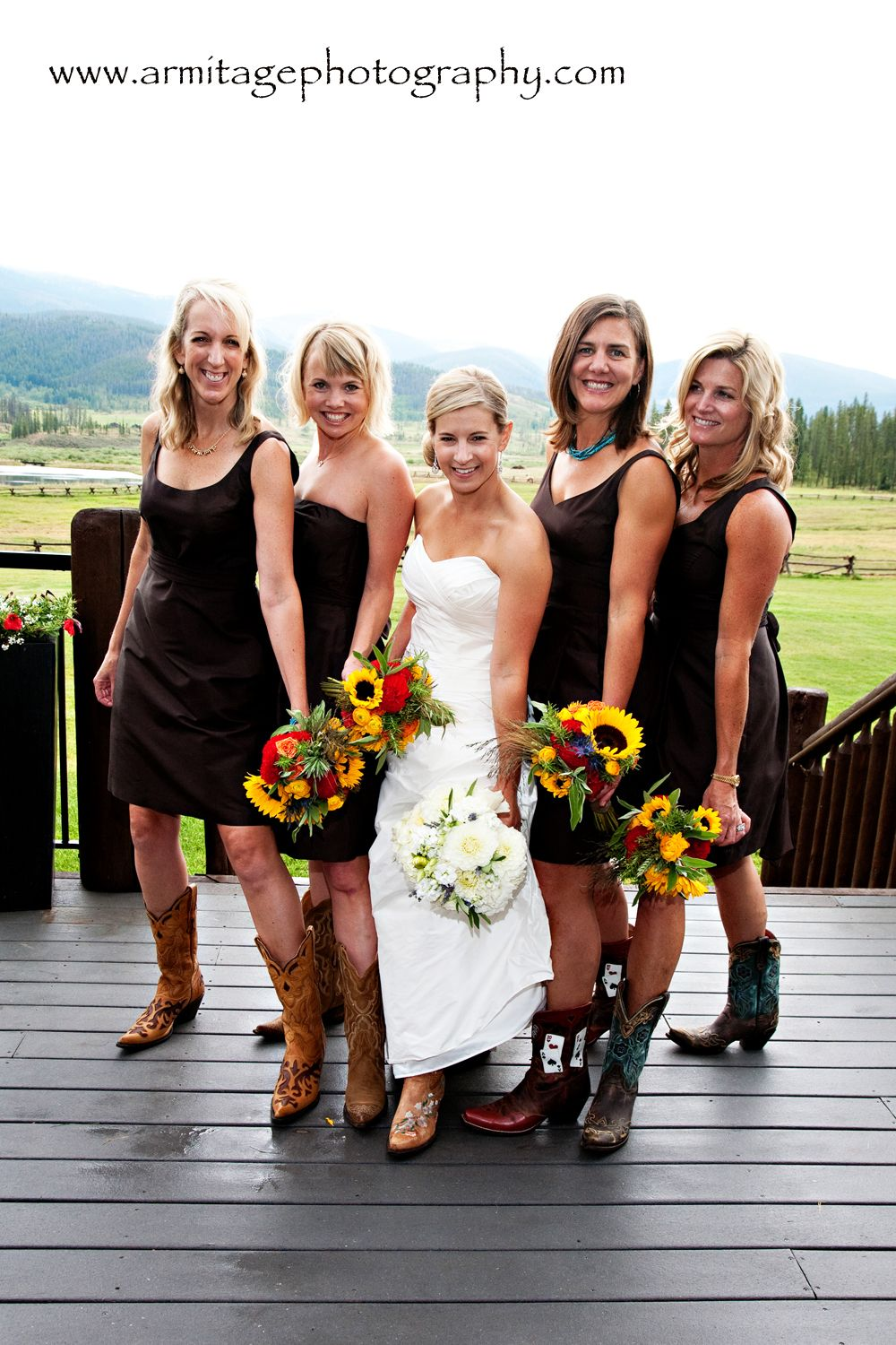 Cowboy boots for the bridesmaids and bride.