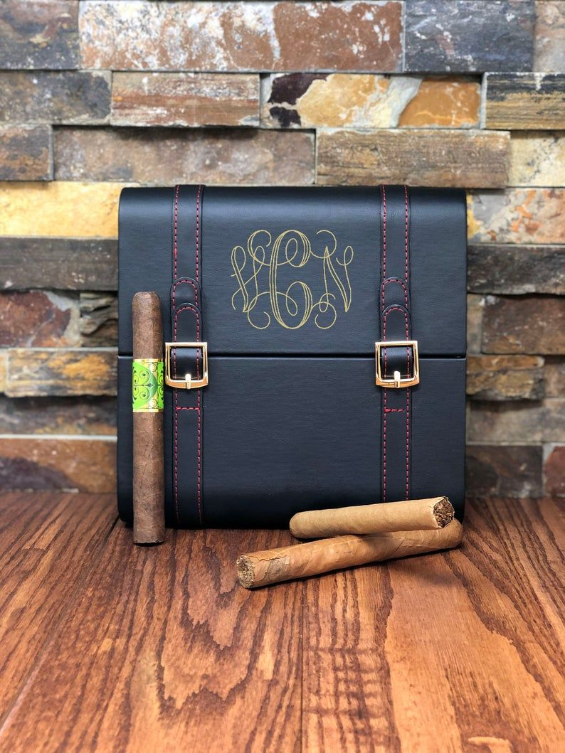 Leather cigar humidor custom personalized best man unique