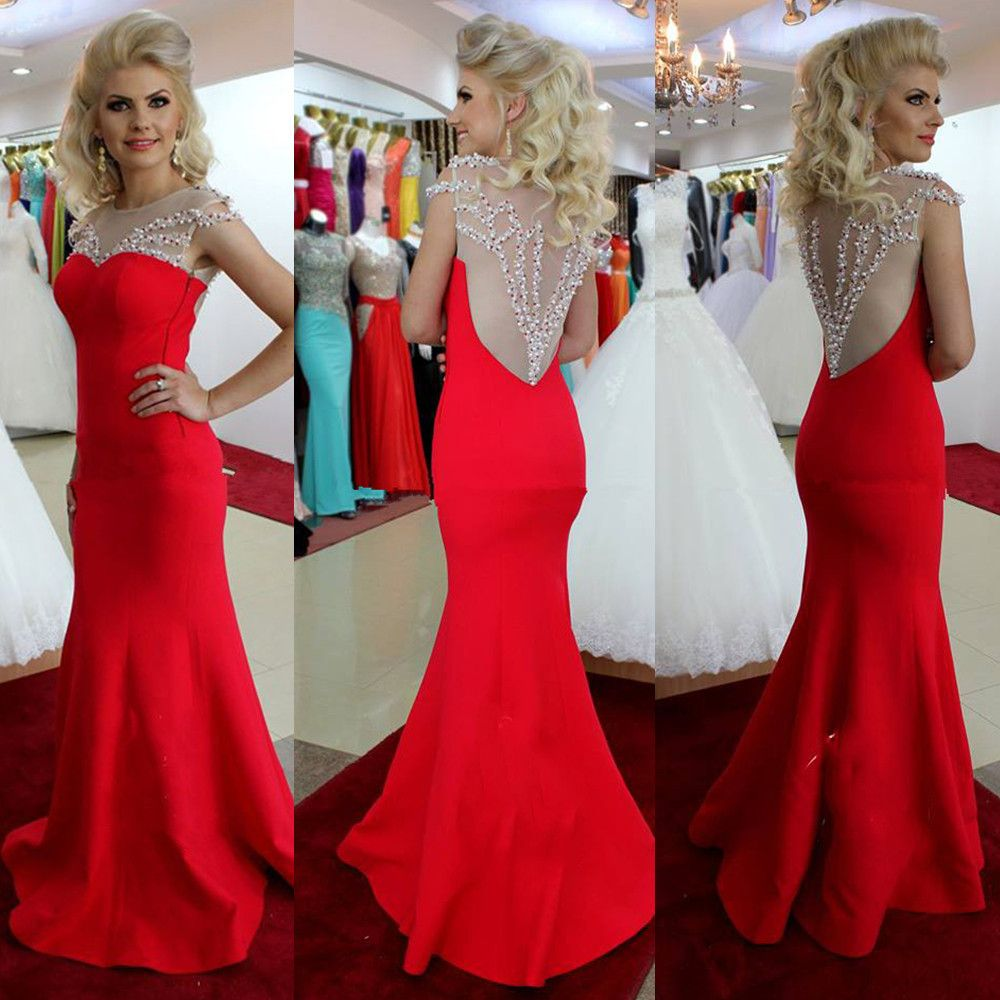 New elegant sheer back cap sleeve beads pearls long red mermaid prom