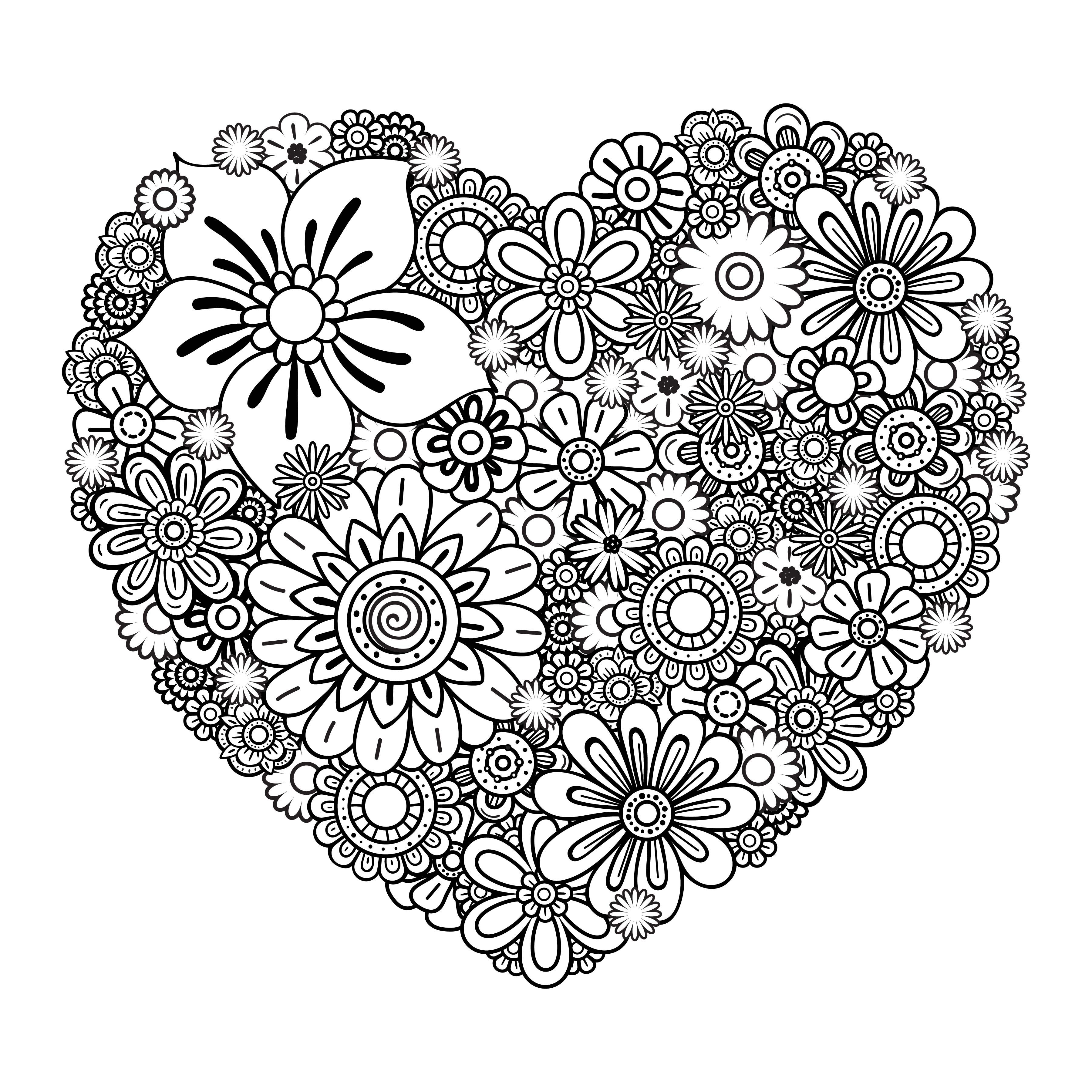Valentine S Day Heart And Roses Coloring Page Heart Coloring Pages Valentine Coloring Pages Rose Coloring Pages