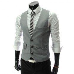 @Kasey Nye  $14.46 Fashion Style V-Neck Slimming Single-Breasted Polyester Vest For Men,