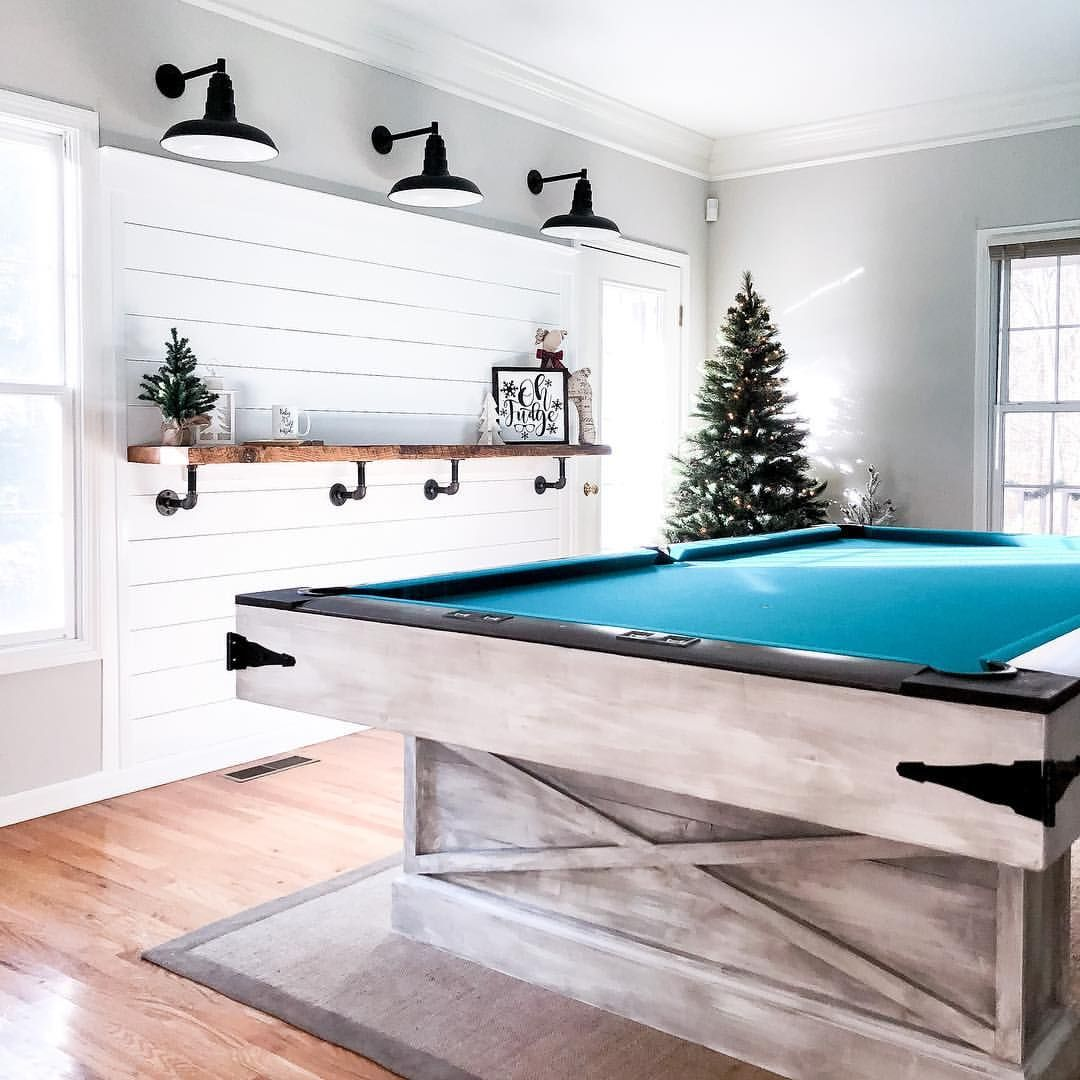 Game room farmhouse lighting shiplap pool table for Big game room