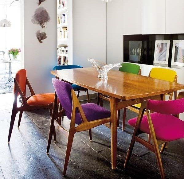 Different Colour Dining Chairs Scandinavian Dining Room Dining Room Colors Eclectic Dining Room
