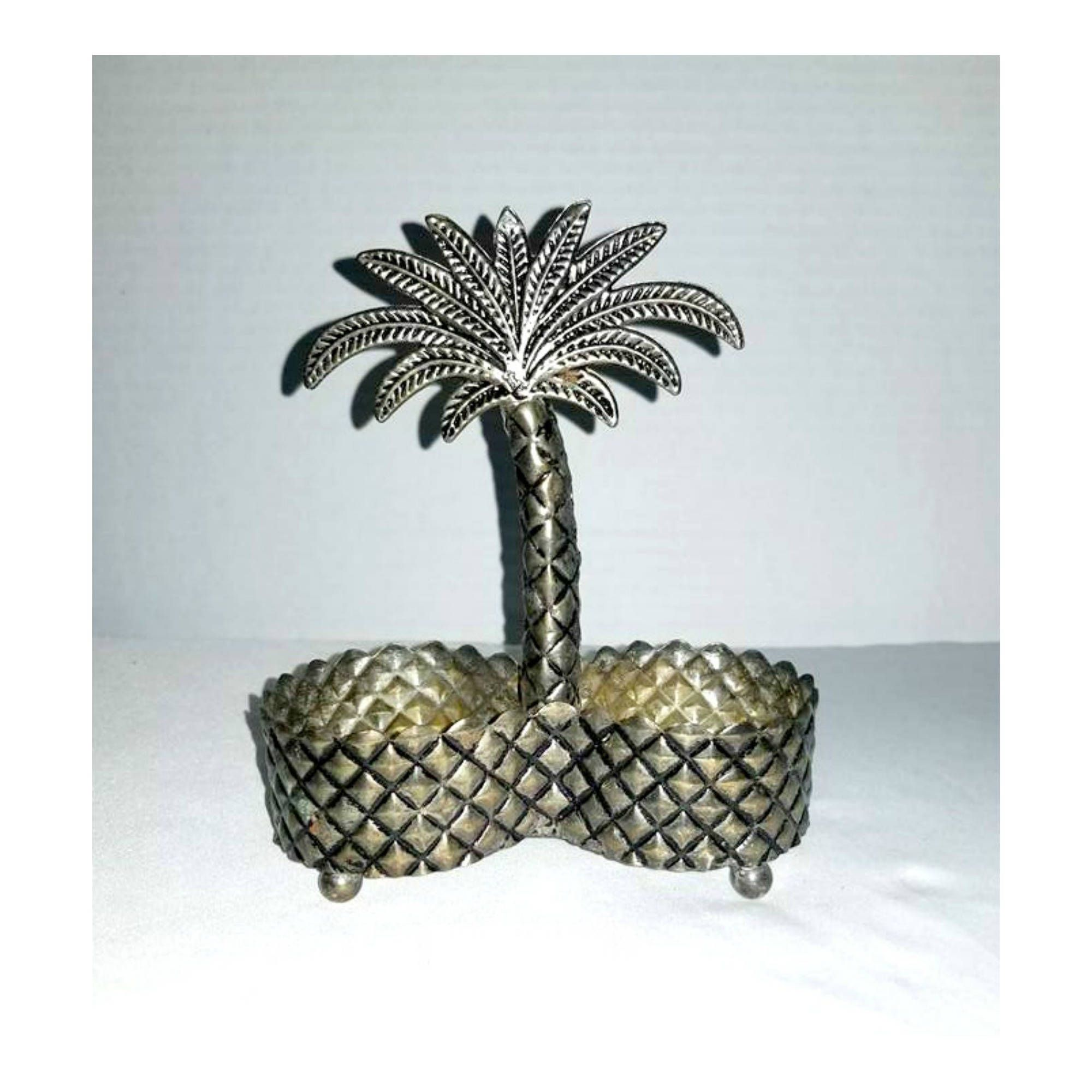 Vintage Pewter Shaker Holder Palm Tree Shaker Holder Palm Tree