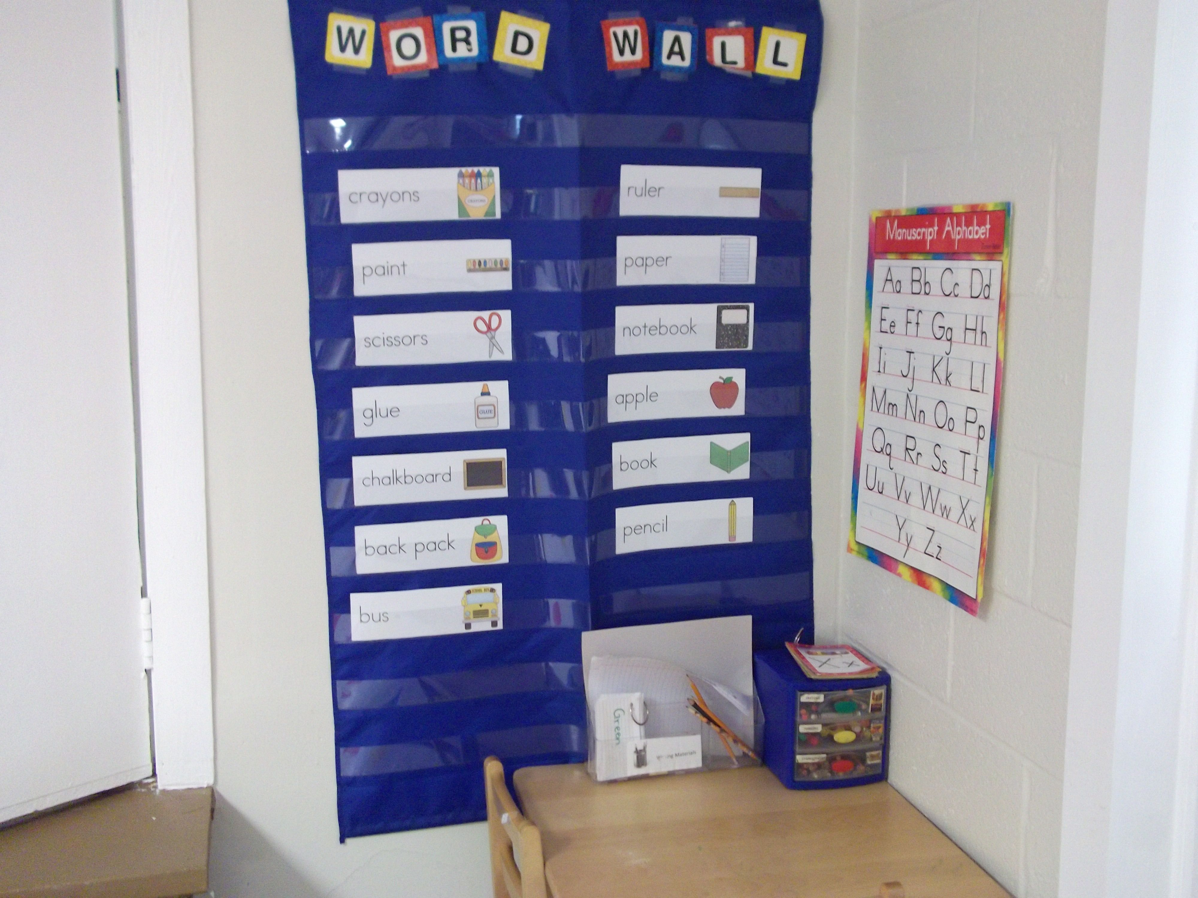 Writing center  and word wall
