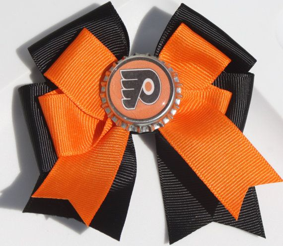 Philadelphia Flyers Flyers Hair Bow Flyers Bow Bow by bowsforme, $6.00