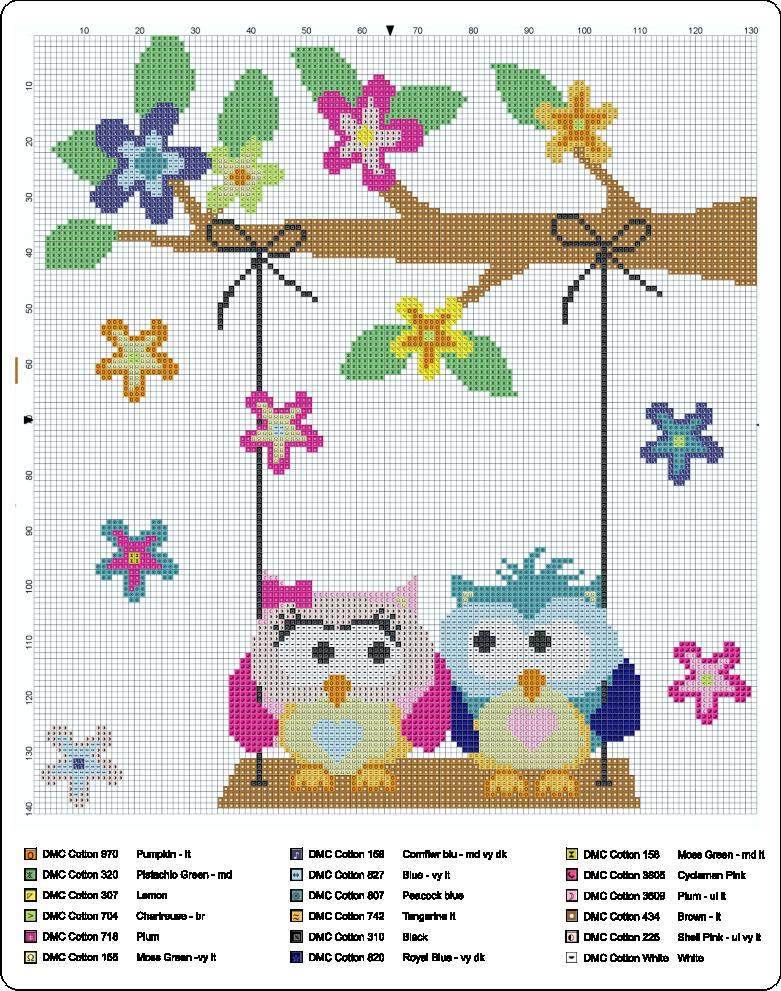 patron buhos enamorados | Sowy (owls) | Pinterest | Cross stitch ...