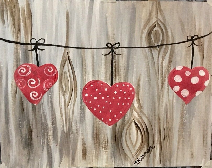 How to paint three hearts on a string with a wood background Step