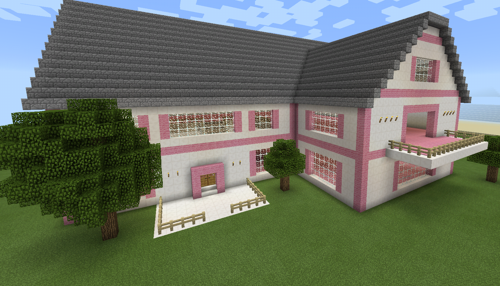 minecraft pink house with porch and balcony minecraft creations