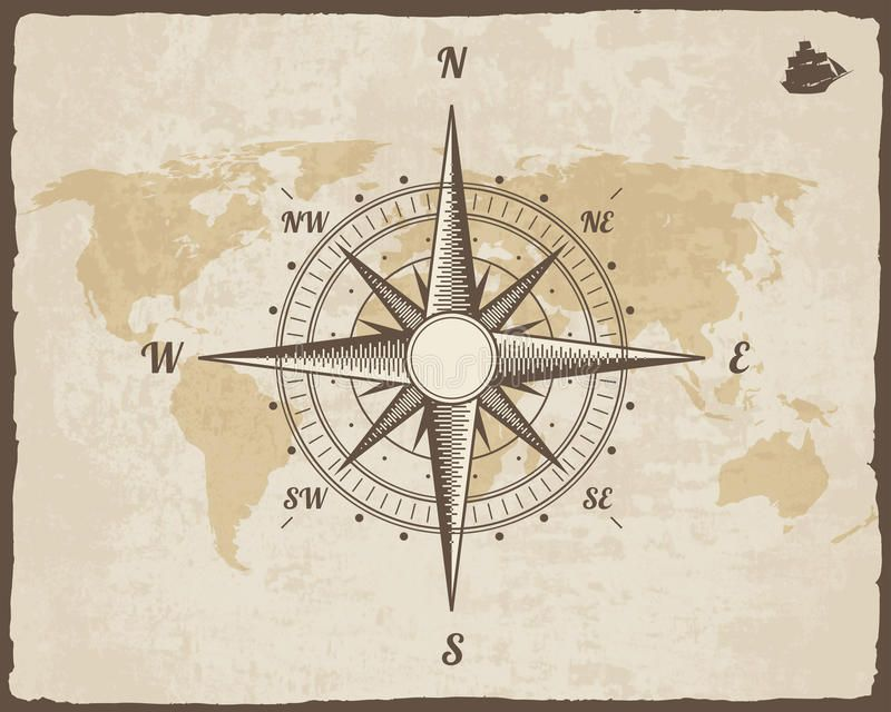 Vintage Nautical pass Old World Map Vector Paper Texture With